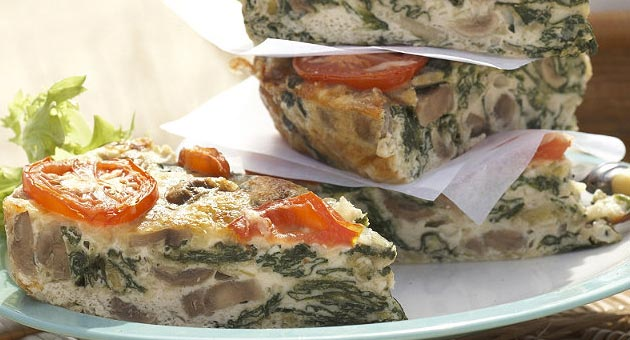 Baked Spinach and Mushroom Frittata