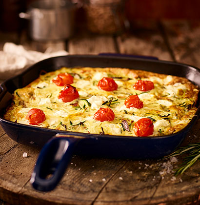Courgette, Roast Tomato and Goat's Cheese Frittata