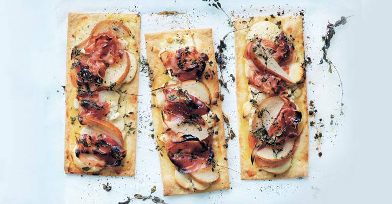 Goat's cheese, pear and pancetta tarts