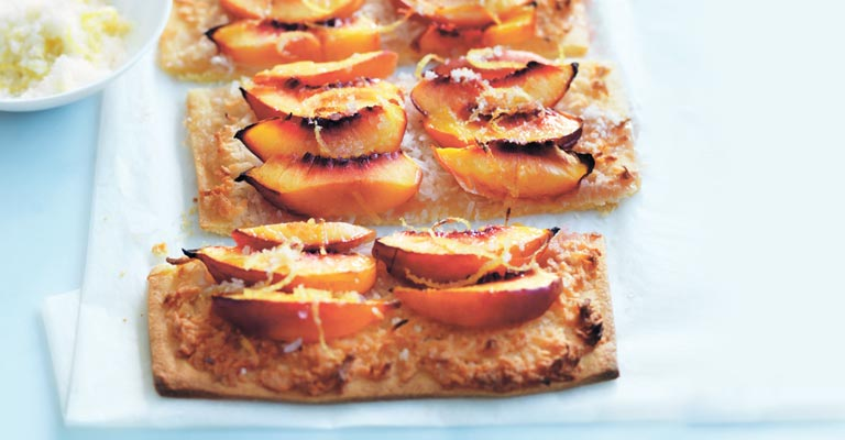 Nectarine and coconut tart